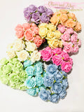Bulk 100 Pack - Mulberry Paper Flowers - 2cm Tea Roses - Rainbow Mix