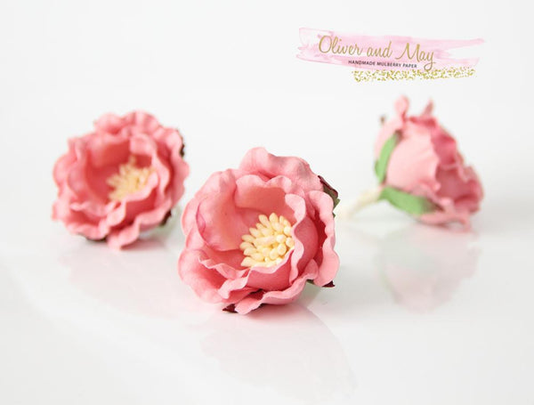 5 pcs Mulberry Paper Flowers - Polyantha Roses - 4.5cm in Peachy Pink