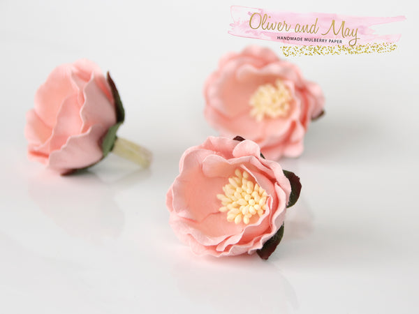 5 pcs Mulberry Paper Flowers - Polyantha Roses - 4.5cm in Soft Peachy Pink