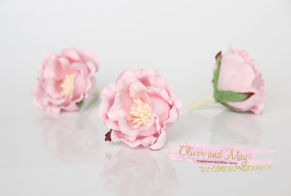 5 pcs Mulberry Paper Flowers - Polyantha Roses - 4.5cm in Soft Pink