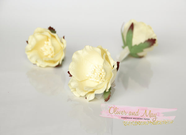 5 pcs Mulberry Paper Flowers - Polyantha Roses - 4.5cm in Soft Yellow