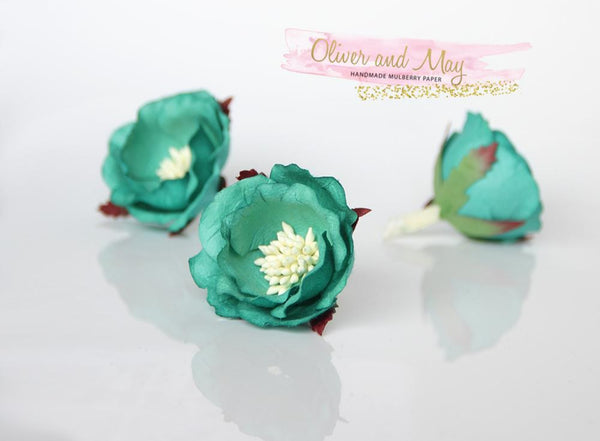 5 pcs Mulberry Paper Flowers - Polyantha Roses - 4.5cm in Teal