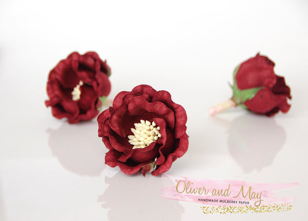 5 pcs Mulberry Paper Flowers - Polyantha Roses - 4.5cm in Burgundy