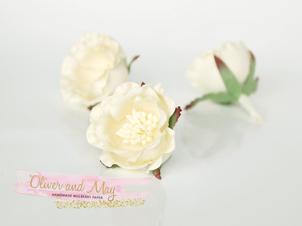 5 pcs Mulberry Paper Flowers - Polyantha Roses - 4.5cm in Ivory Cream