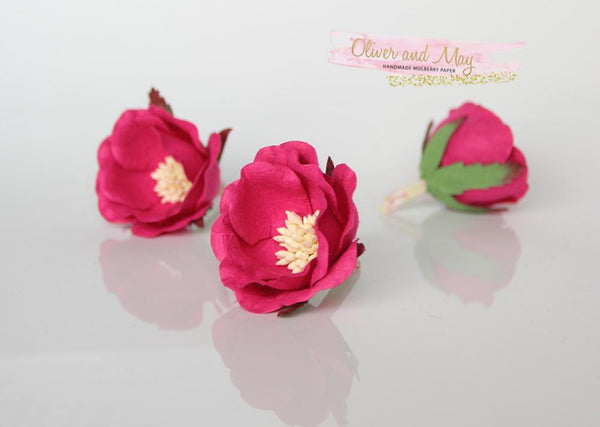 5 pcs Mulberry Paper Flowers - Polyantha Roses - 4.5cm in Hot Pink