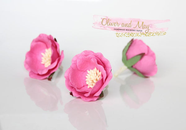 5 pcs Mulberry Paper Flowers - Polyantha Roses - 4.5cm in Candy Pink
