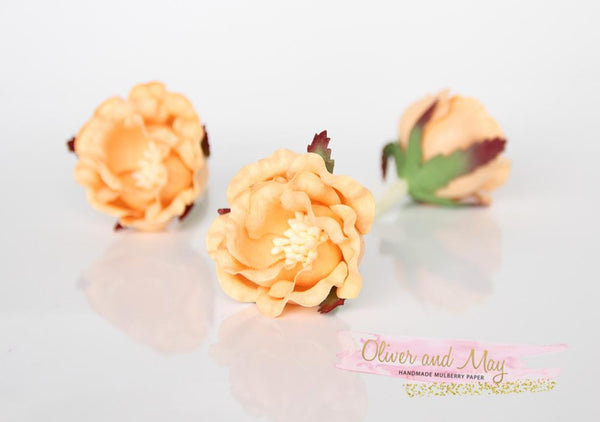 5 pcs Mulberry Paper Flowers - Polyantha Roses  4.5cm in Peach