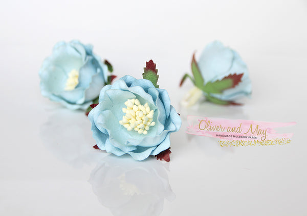5 pcs Mulberry Paper Flowers - Polyantha Roses - 4.5cm in Soft Blue