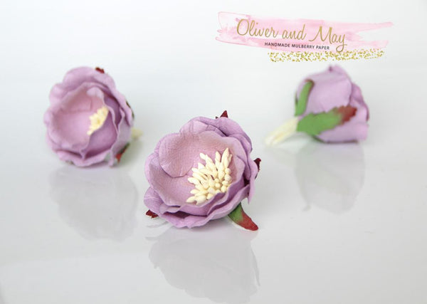 5 pcs Mulberry Paper Flowers - Polyantha Roses - 4.5cm in Lilac