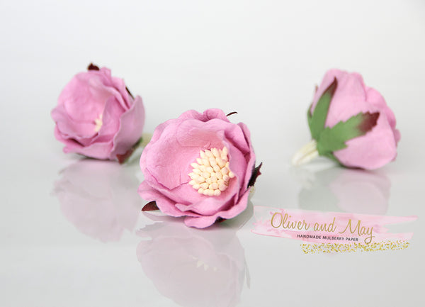5 pcs Mulberry Paper Flowers - Polyantha Roses - 4.5cm in Pink