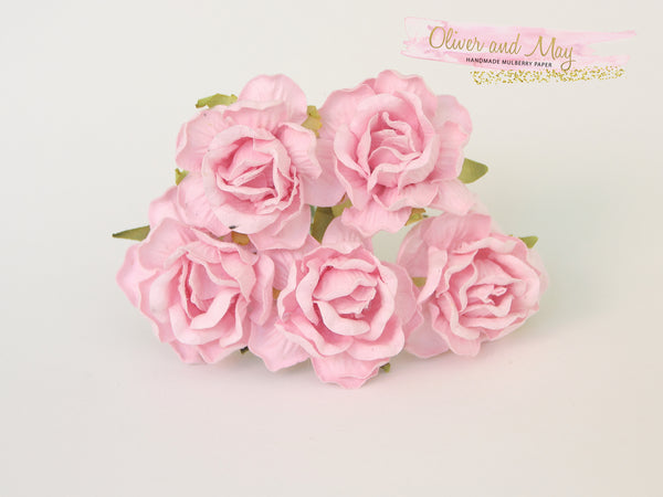 5 Pcs Mulberry Paper Flowers - 4cm Tea Roses - Soft Pink #2