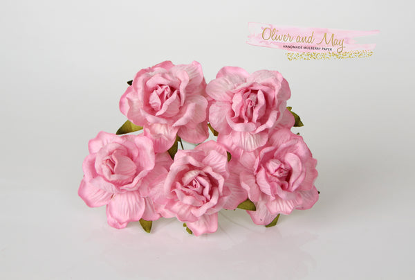 5 Pcs Mulberry Paper Flowers - 4cm Tea Roses - Soft Pink