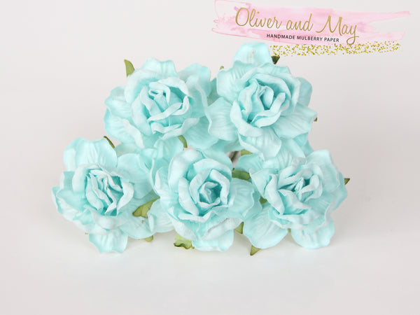 5 Pcs Mulberry Paper Flowers - 4cm Tea Roses - Soft Turquoise