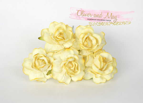 5 Pcs Mulberry Paper Flowers - 4cm Tea Roses - Soft Yellow