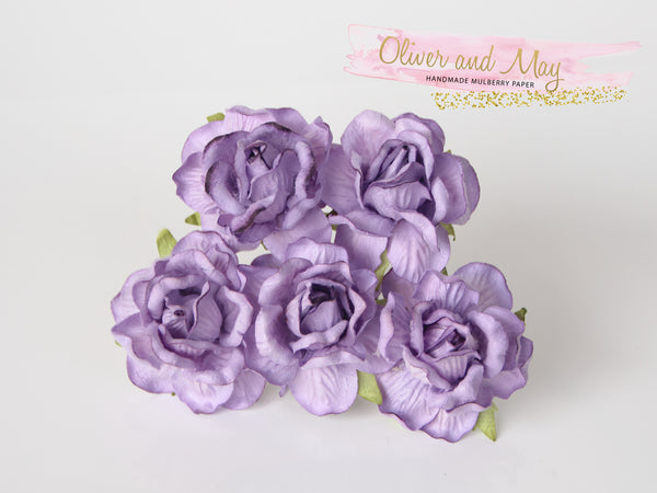 5 Pcs Mulberry Paper Flowers - 4cm Tea Roses - Lilac