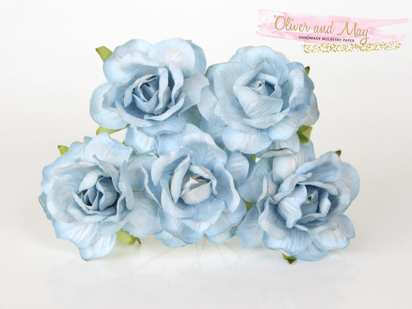 5 Pcs Mulberry Paper Flowers - 4cm Tea Roses - Soft Blue #1