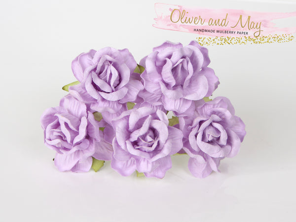 5 Pcs Mulberry Paper Flowers - 4cm Tea Roses - Soft Lilac #3