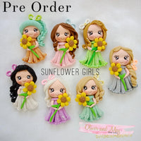 Sunflower Girls Bow Clay Embellishments