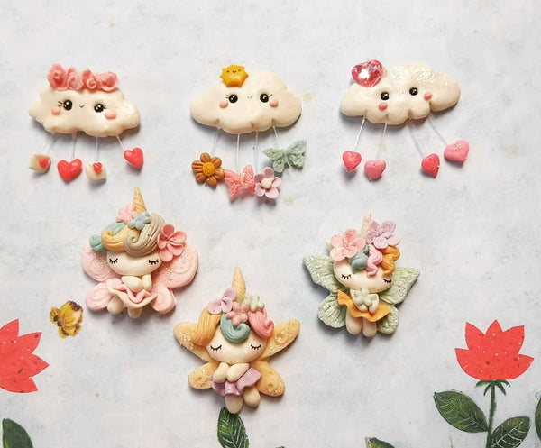 "PREORDER Clouds and Unicorn Fairies Bow Clay - Clay Bow Centres ""Enchanted"" Collection"