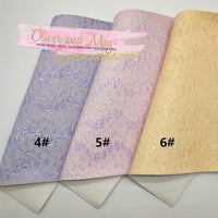 10 Sheet Bundle - Pastel Floral Glitter Lace Fabric - A4 OR A5 Size - BLACK NOW AVAILABLE