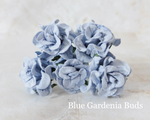 PRE ORDER 5pcs Blue  - Mulberry Paper Gardenia Buds - 30mm / 3cm