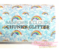 Rainbow and Clouds Chunky Glitter A4 sheet - Blue Sky