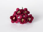 10 Pcs Mulberry Paper Flowers - 2cm Cherry Blossoms - Burgundy
