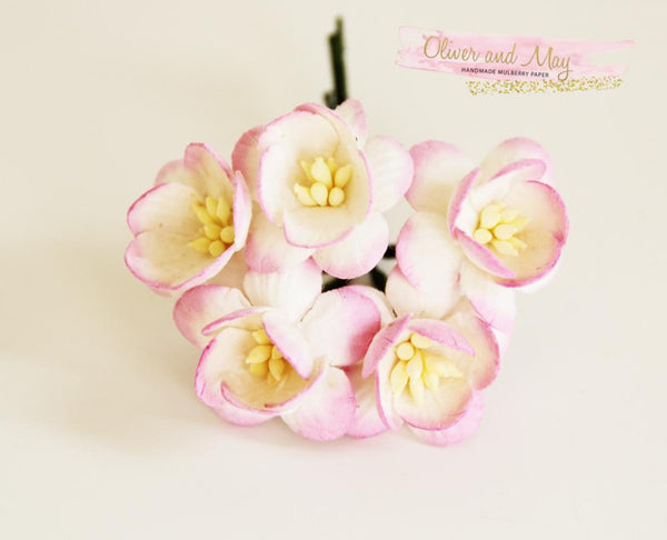 10 Pcs Mulberry Paper Flowers - 2cm Cherry Blossoms - Pink and White
