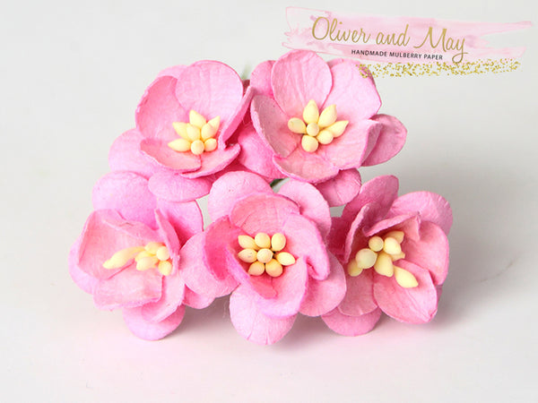 10 Pcs Mulberry Paper Flowers - 2cm Cherry Blossoms - Pink