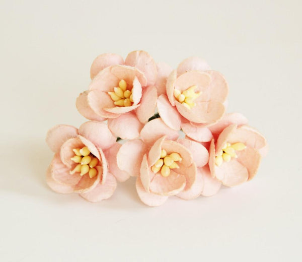 10 Pcs Mulberry Paper Flowers - 2cm Cherry Blossoms - Soft Peachy Pink