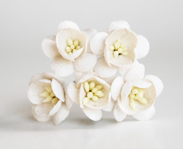 10 Pcs Mulberry Paper Flowers - 2cm Cherry Blossoms - White