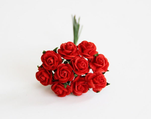 10 Pcs - Mulberry Paper Flowers - 1cm Rounded Petal Roses - Red
