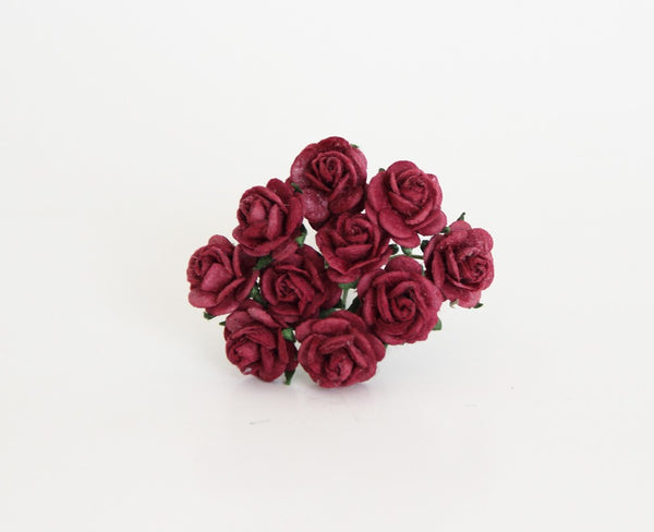 10 Pcs - Mulberry Paper Flowers - 1cm Rounded Petal Roses - Berry