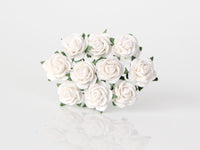 10 Pcs - Mulberry Paper Flowers - 1cm Rounded Petal Roses - White