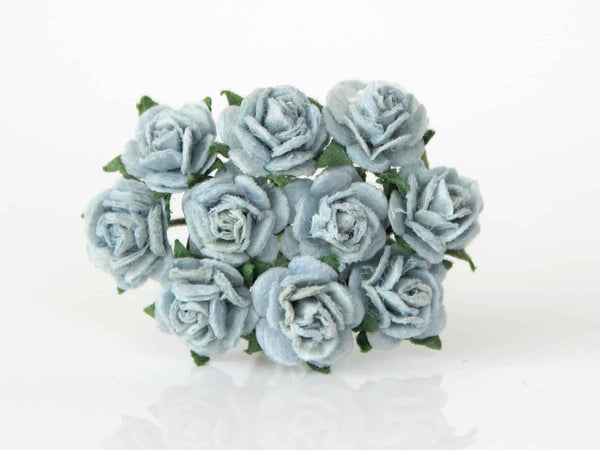 10 Pcs - Mulberry Paper Flowers - 1cm Rounded Petal Roses - Blue Grey