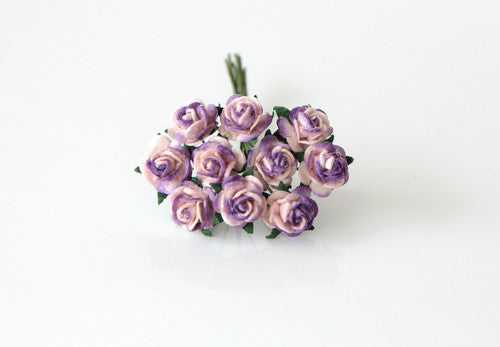 10 Pcs - Mulberry Paper Flowers - 1cm Rounded Petal Roses - Pink and Lilac