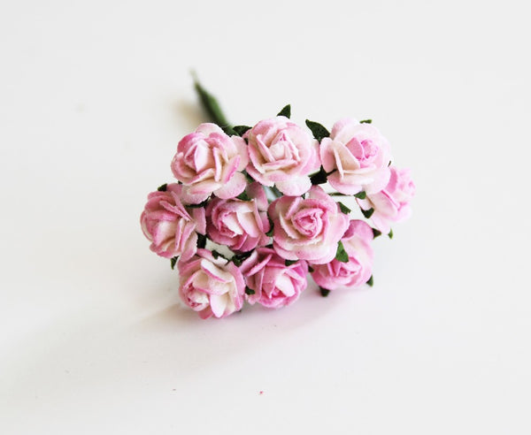 10 Pcs - Mulberry Paper Flowers - 1cm Rounded Petal Roses - Pink and White
