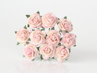 10 Pcs - Mulberry Paper Flowers - 1cm Rounded Petal Roses - Soft Pink and Cream