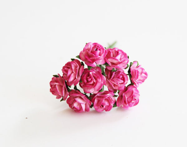 10 Pcs - Mulberry Paper Flowers - 1cm Rounded Petal Roses - 2 tones Hot Pink