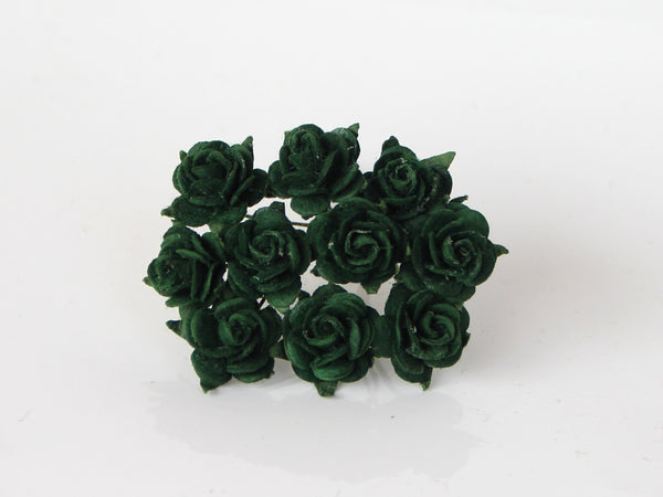 10 Pcs - Mulberry Paper Flowers - 1.5cm Rounded Petal Roses - Christmas Green