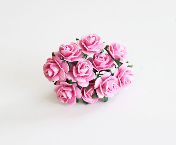 10 Pcs - Mulberry Paper Flowers - 1.5cm Rounded Petal Roses - Pink