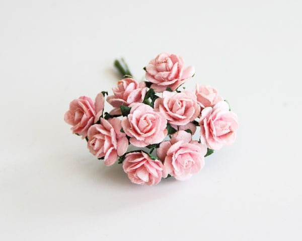 10 Pcs - Mulberry Paper Flowers - 1.5cm Rounded Petal Roses - Peachy Pink