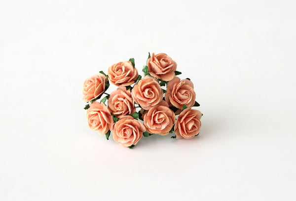 10 Pcs - Mulberry Paper Flowers - 1.5cm Rounded Petal Roses - Peach