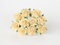 10 Pcs - Mulberry Paper Flowers - 1.5cm Rounded Petal Roses - Soft Yellow