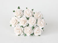 10 Pcs - Mulberry Paper Flowers - 1.5cm Rounded Petal Roses - White