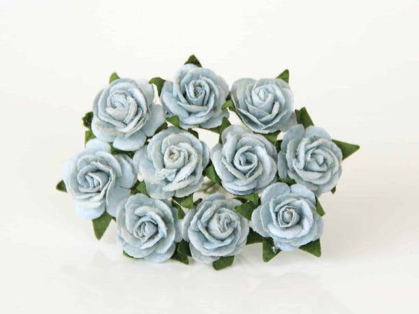 10 Pcs - Mulberry Paper Flowers - 1.5cm Rounded Petal Roses - Blue Grey