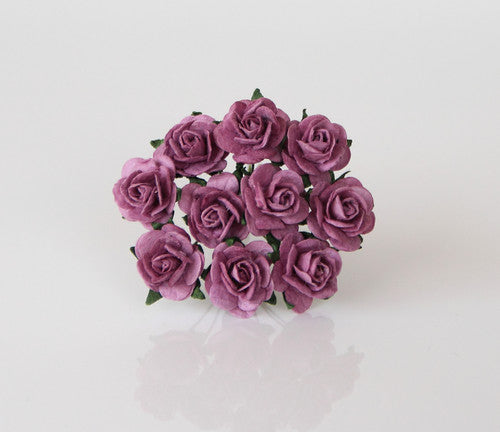 10 Pcs - Mulberry Paper Flowers - 1.5cm Rounded Petal Roses - Warm Lilac