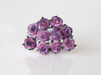 10 Pcs - Mulberry Paper Flowers - 1.5cm Rounded Petal Roses - Purple and Pink