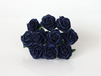 10 Pcs - Mulberry Paper Flowers - 2cm Rounded Petal Roses - Navy