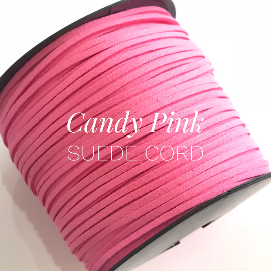 Candy Pink  Faux Suede Cord - 5m - Candy Pink Suede Cord